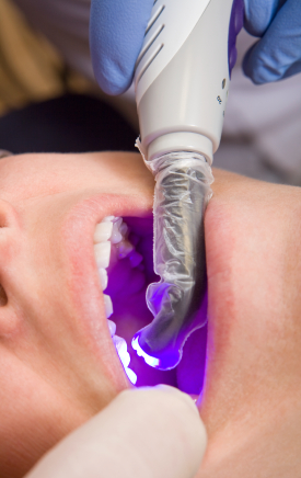 A patient receiving a dental filling.